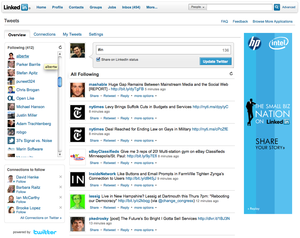 Twitter in LinkedIn