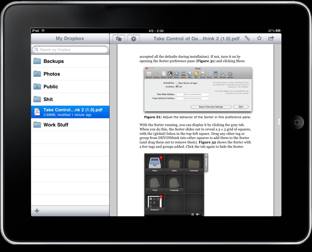 Dropbox iPad – 2