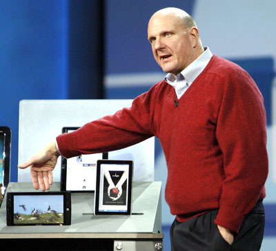 Ballmer shows Slate PCs Archos, Pegatron and Hewlett-Packard during his keynote speech before 2010 International CES in Las Vegas