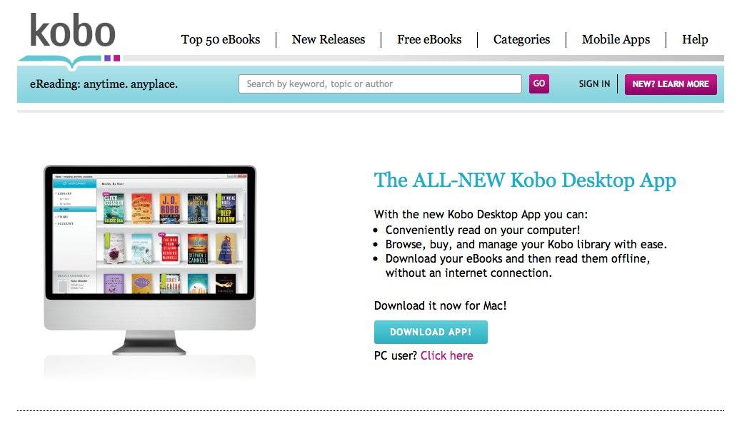 Download the free Kobo Desktop