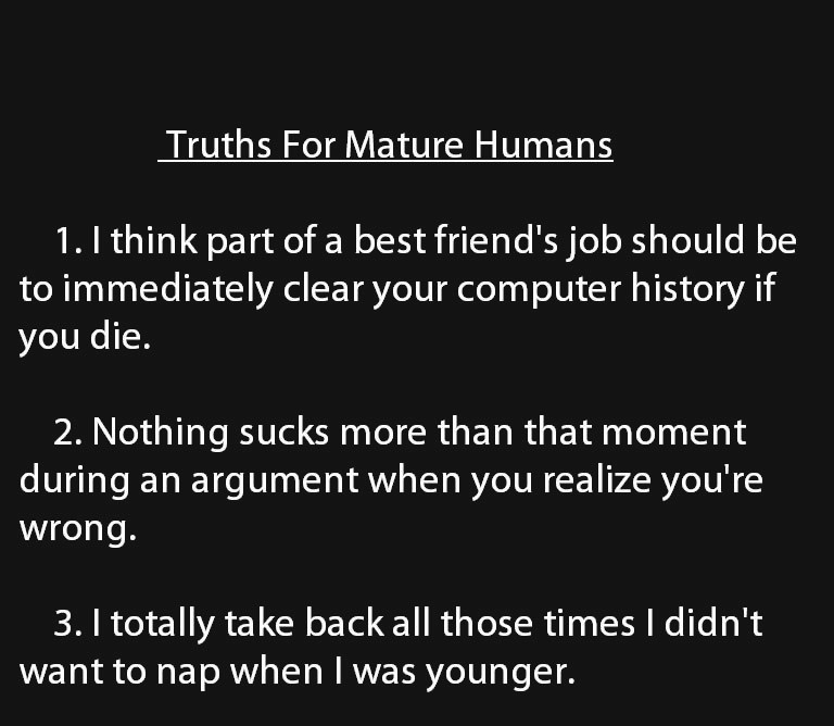 Truths for mature humans head