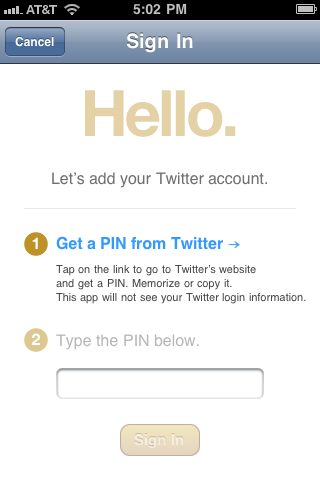 Fancy iPhone App Twitter Pin