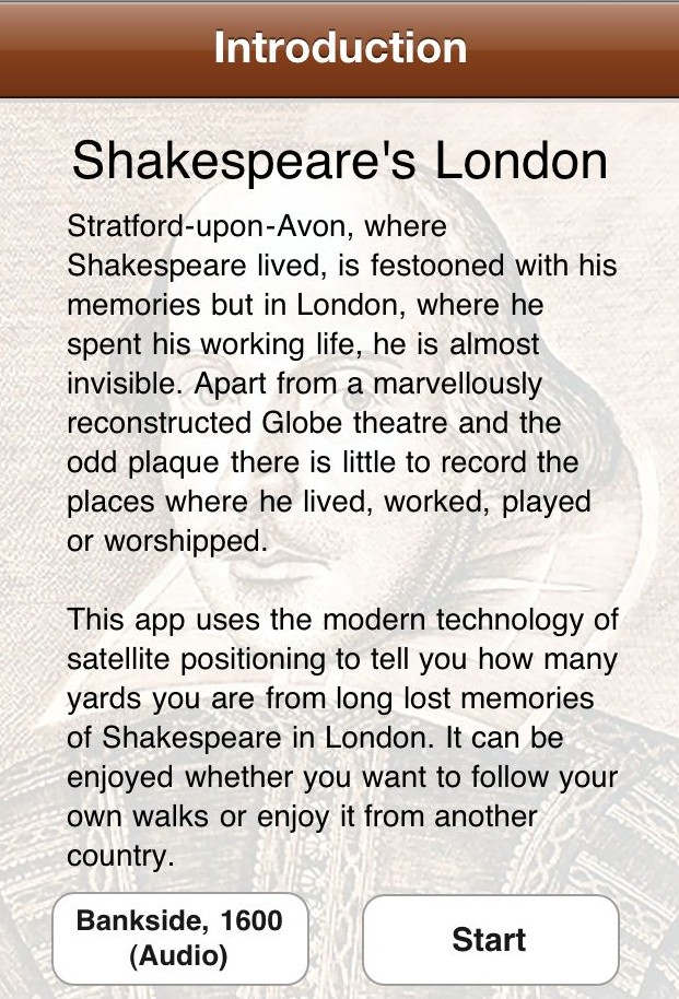 Shakespeare's London iPhone app Introduction