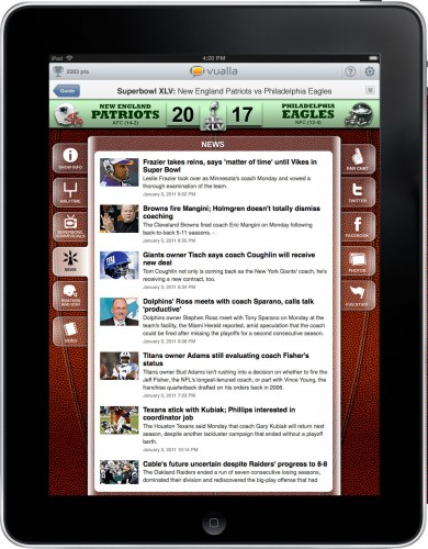 vualla superbowl news 390x500 Vualla: A social TV app for your iPad, plus a Super Bowl special