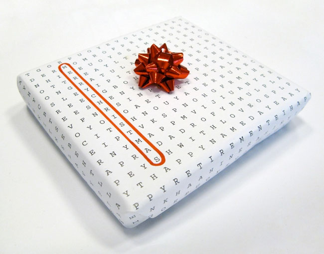 Word search pattern creates wrapping paper for any occasion