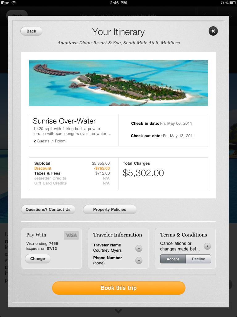 Jetsetter iPad itinerary page