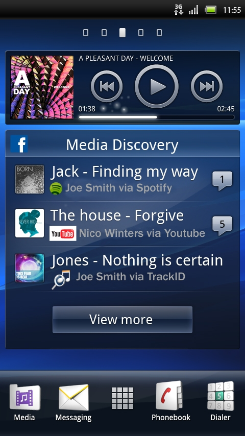 Facebook inside Xperia Media Discovery Widget