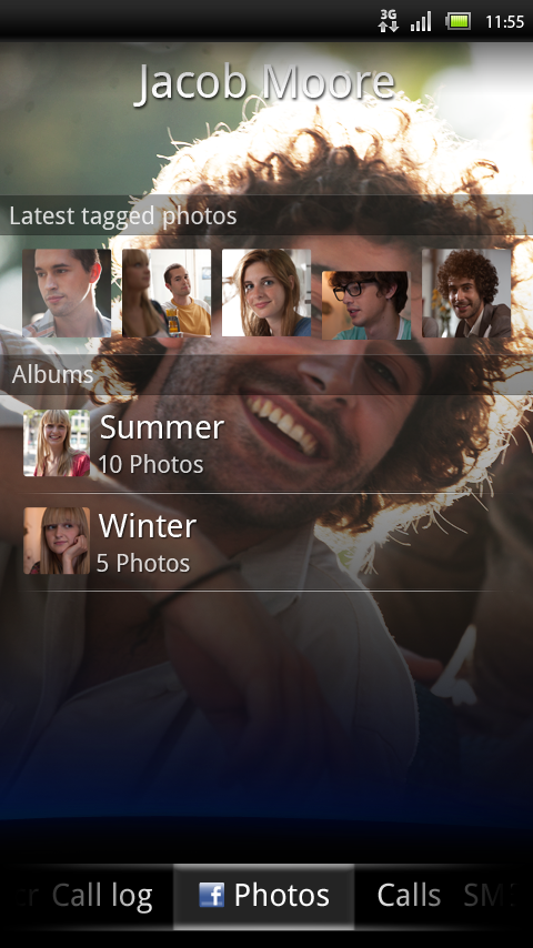 Facebook inside Xperia Phonebook integration