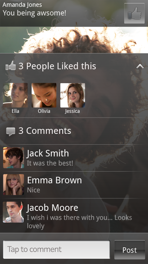 Facebook inside Xperia Photo Gallery like and comment