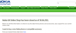 Nokia UK – Online shop closed