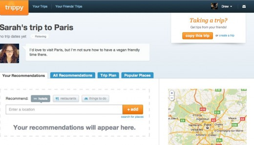 Help Sarah plan a trip to Paris by adding recommendations and comments. trippy.com  520x298 Trippy lets your Facebook friends help plan your next vacation