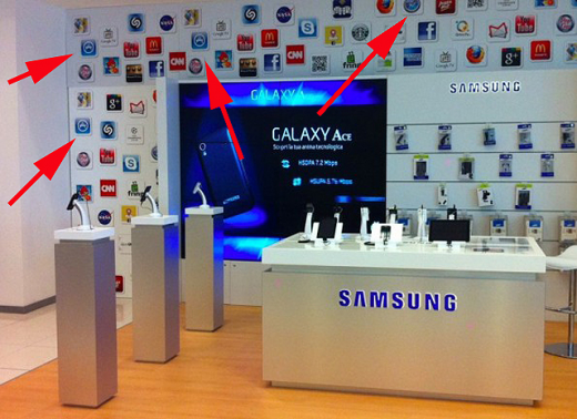 Samsung shop 520x378 Samsung replaces Apple icons to reduce embarrassment in Italian store