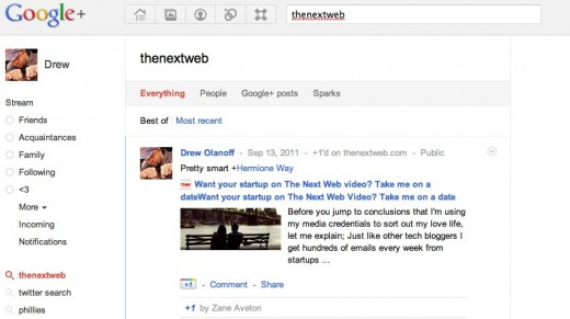 googleplussearch1 520x291 Twitter too slow with search upgrades? Google+ shows Twitter how its done