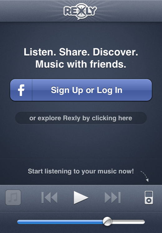 root logged out 520x747 Rexly for iPhone creates the social music experience that Ping never could