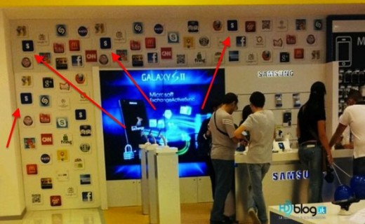samsung shop in shop1 595x367 520x320 Samsung replaces Apple icons to reduce embarrassment in Italian store