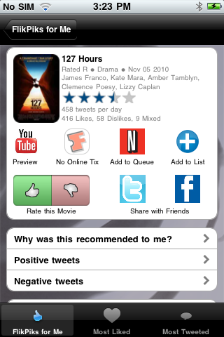 screenshot4 2 Crowdsource your movie choices, then buy tickets or queue on Netflix with FlikPiks