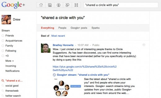 searchgoogleplus 520x319 Easily find the Google+ Circles that have been shared with you using search