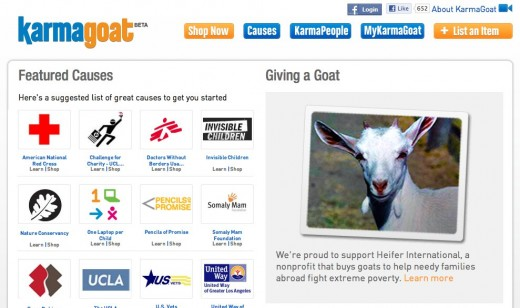 www.karmagoat.com causes  520x308 If Craigslist benefited charity, you would have the Social Good site KarmaGoat