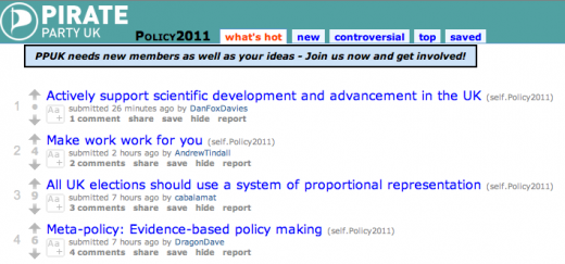 Screen Shot 2011 10 04 at 13.35.09 520x243 Pirate Party UK crowdsources its policies on Reddit