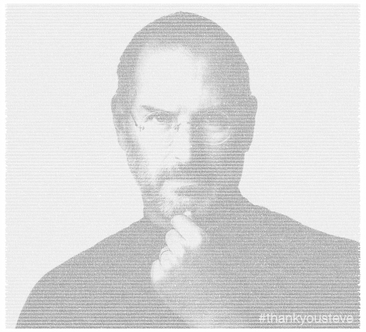 Screen Shot 2011 10 07 at 02.25.35 520x471 Beautiful: Public #thankyousteve Tweets visualised into a giant Steve Jobs poster