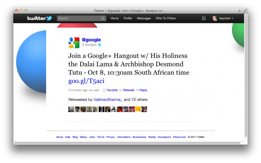 Screen Shot 2011 10 07 at 9.53.33 AM 520x326 Dalai Lama and Archbishop Desmond Tutu to Hangout on Google+