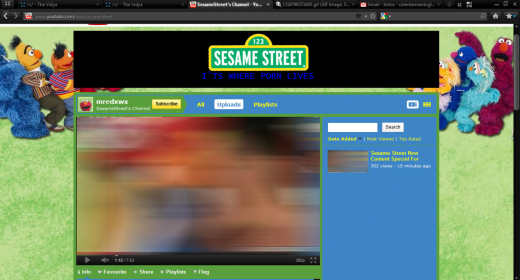 Screen Shot 2011 10 16 at 14.42.12 520x280 Sesame Streets YouTube Channel Gets Hacked. Badly.
