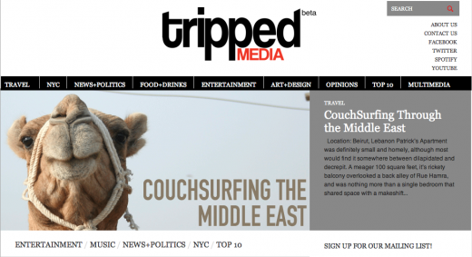 Screen shot 2011 10 14 at 10.48.49 AM 520x283 3 recent grads launch Tripped Media, an online media outlet for millennials