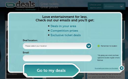 TMDEals 520x320 Ticketmaster launches new UK deals website