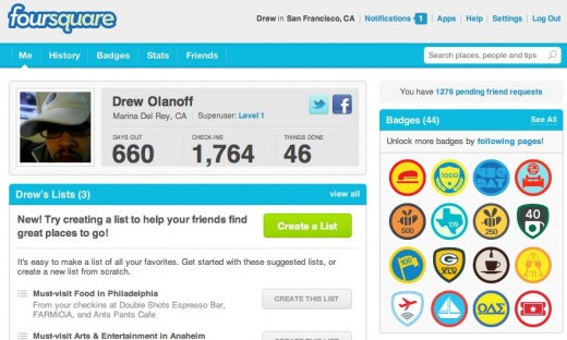 foursquare    Drew Olanoff 520x312 Were sharing things on the web, but what is the web sharing with us?