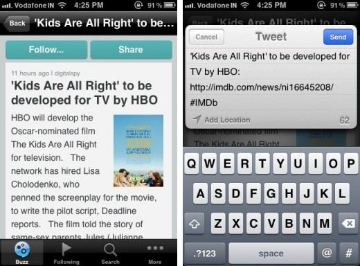 imdb buzz 2 520x384 IMDb Buzz serves up the latest in entertainment gossip and news on the iPhone