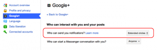 interact 520x167 Google+ users can now decide who is allowed to notify them