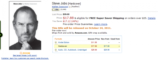 jobs biography amazon store 520x198 Kindle users getting theirs hands on Steve Jobs biography NOW (update: now available in iTunes too)