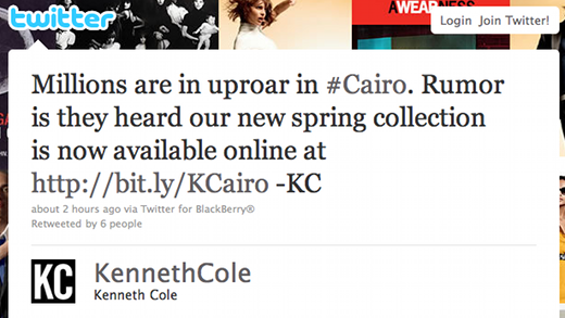 kenneth cole tweet The problem with social media influence? Its me and you