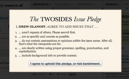 pledge 520x319 TwoSides ups the ante in QA, placing weight on viewpoints and persuasions