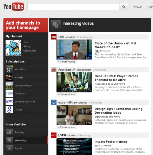 4 interesting 520x525 YouTube tests redesign highlighting Google+ videos, subscriptions & more