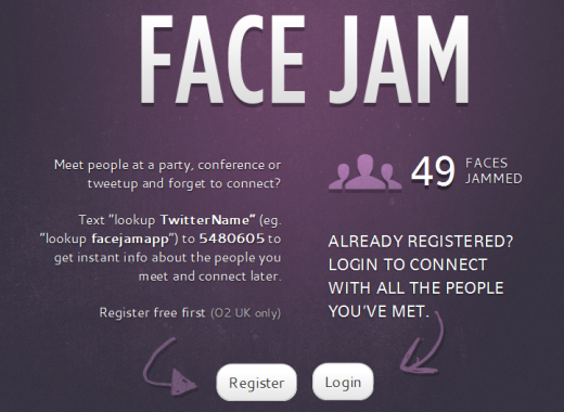 FaceJam1 520x380 Face Jam: Use SMS and Twitter to record and remember people you meet