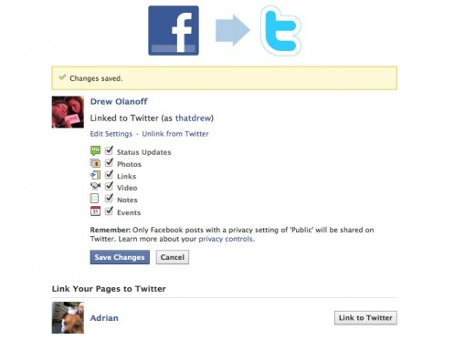 Facebook to Twitter 1 520x373 Anyone can now link their Facebook profile to Twitter. Heres how