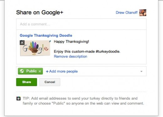 Google 2 520x376 Make your own Thanksgiving Google Doodle to share with your Google+ Circles