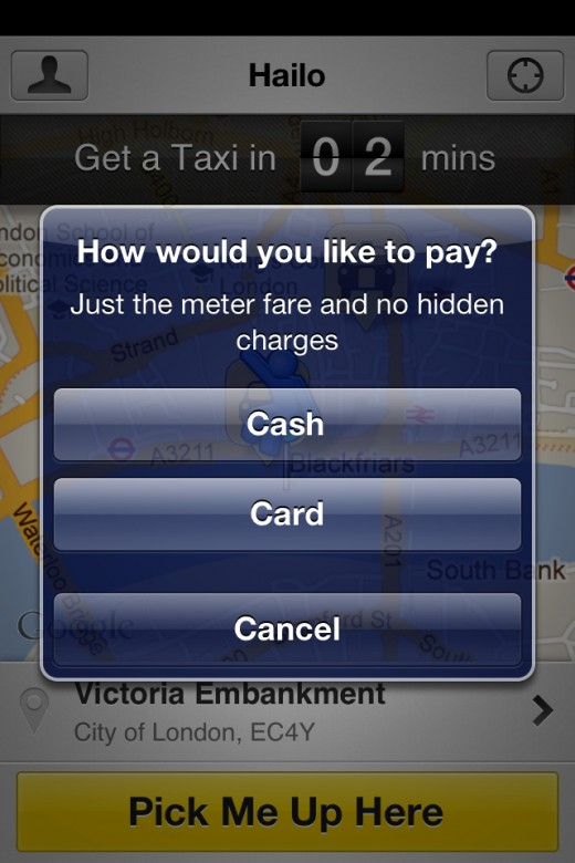 Hailo Passenger Payment Type 520x780 Hailo: This mobile app could change the way you book taxis forever