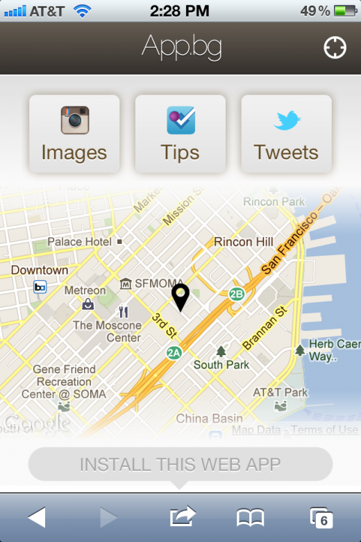 IMG 28721 520x780 App.bg pulls together local Instagram photos, foursquare tips, and tweets