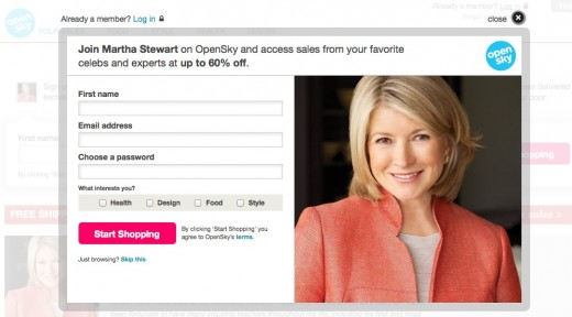 Martha Stewart on OpenSky 520x288 Are daily deals dying a slow death? Here comes the celebrity cavalry