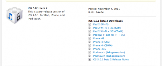Screen Shot 2011 11 04 at 10.42.57 AM 520x213 Apple drops iOS 5.0.1 beta 2 for developers, available as an OTA update