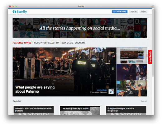 Screen Shot 2011 11 10 at 2.26.10 PM 520x405 Storify gets a redesign: New front page makes content discovery easier