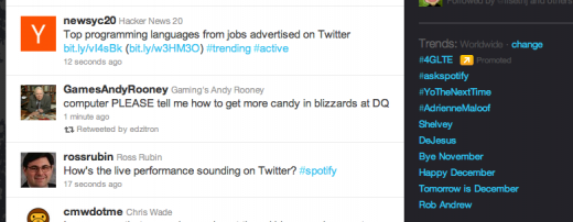Screen Shot 2011 11 30 at 10.00.19 AM 520x202 Spotify joins elite club by nabbing the #1 Twitter trending topic with #askspotify