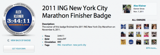 Screen shot 2011 11 07 at 1.37.40 PM 520x178 Basno awards virtual badges for NYC Marathon finishers