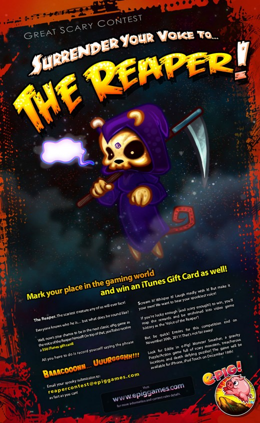 The Reaper Contest Epig Games 520x845 Chilean game startup e Pig Games wants you to say BAAACOOOOON!!! UUURGGGHH!!!