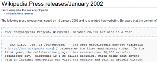 Wikipedia Press releases January 2002 Wikipedia the free encyclopedia 1321554003890 520x207 Larry Sanger on co founding Wikipedia and how online education could change the world
