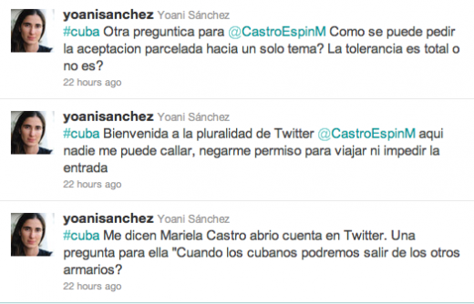 Yoani Sanchez 520x334 Fidel Castros niece debuts on Twitter, welcomed by dissidents