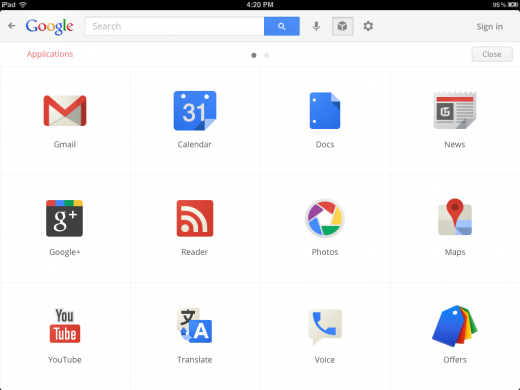 apps menu 520x390 Google launches redesigned Search app for iPad with a fresh new look