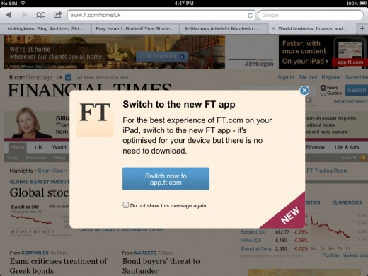 financial times india ipad web app alert 520x390 The Financial Times brings its iOS only Web app to India